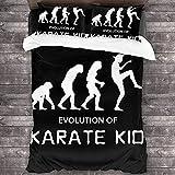 QWAS Juego de cama infantil de karate, funda de edredón de karate, regalo para niños, suave y agradable al tacto, no irritante, fácil de limpiar (A02,140 x 210 cm + 50 x 75 cm x 2)