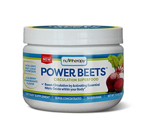 Nu-Therapy Power Beets - Super Concentrated Circulation Superfood - Dietary Supplement – Delicious Acai Berry Pomegranate Flavor – Non-GMO Beet Juice Powder - 30 Servings
