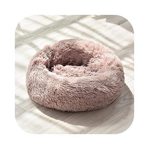 #N/D Cama de lujo larga para perro, canasta, cama calmante, caseta de gatos, peludo, pelo vegano, donut, cama para gatos y perros, 100 cm