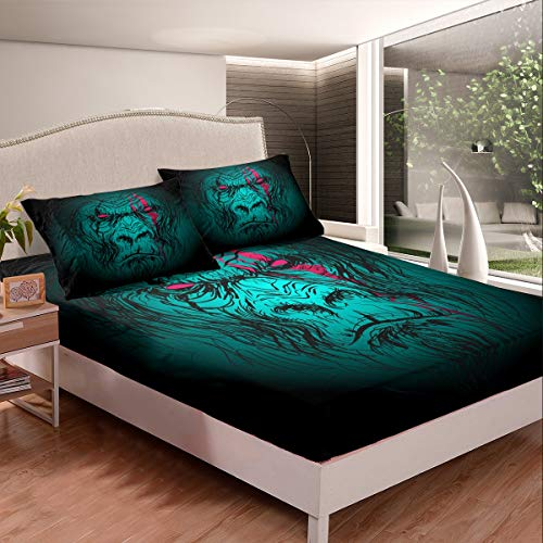 Loussiesd Boys Gorilla Bedding Set for Kids Men Scary Wild Animal Pattern Fitted Sheet Decorative Wildlife Design Bed Sheet Set Black Green Bed Cover King Size 3Pcs