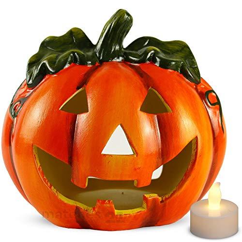 matches21 Kürbis Windlicht Halloween Deko Ton Laterne Jack 'O Lantern gruselige Fratze 18x17 cm inkl. LED Flackereffekt Teelicht