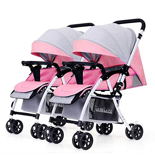 TY-Baby trolley Mmm @ Poussette de bébé jumeau, Chariot Infantile Double inversable Chariot ( Color : Pink+Gray )