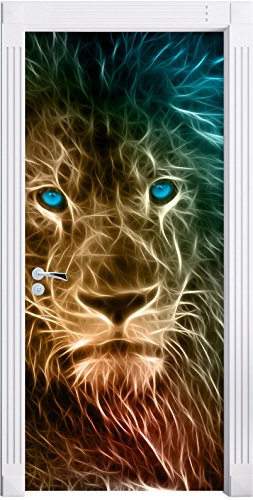 Stil.Zeit Möbel Löwe, Natur, Afrika als Türtapete, Format: 200x90cm, Türbild, Türaufkleber, Tür Deko, Türsticker