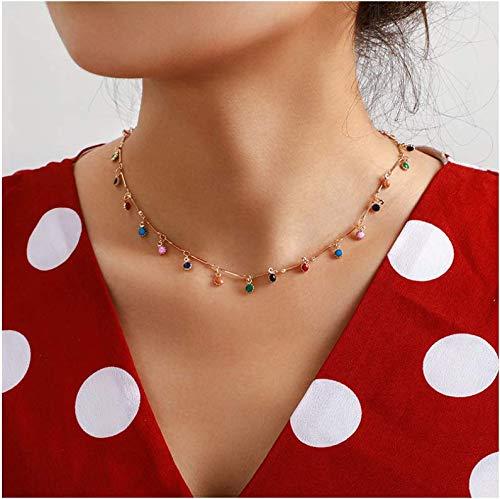 Collana girocollo da donna con cristalli per donne e ragazze, collana girocollo a catena con ciondolo a goccia con pietra piccola collana corta oro