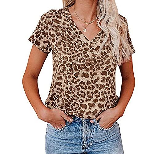 Manga Corta Mujer Blusa Personalidad Cómoda Verano Cuello V Mujer T-Shirts Exquisito Moda Estampado Leopardo...