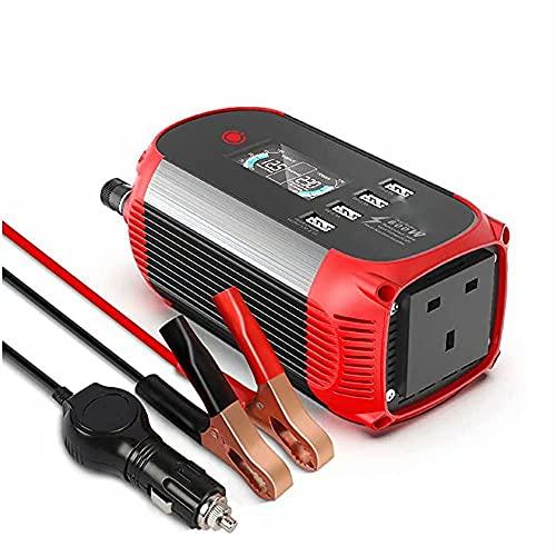 SZ-LY Inversor de Corriente de 300W DC 12V a AC 220V Inversor de Corriente para automóvil Convertidor de automóvil con Pantalla LCD y 4 Puertos de Carga USB