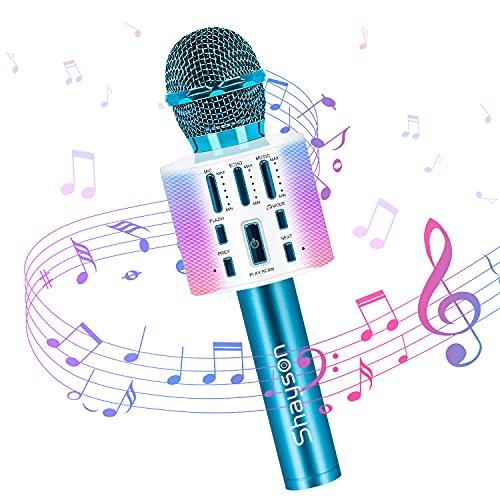 Karaoke Microfono Wireless Bluetooth, 3 in 1 Microfono Portatile per Bambini Che Canta con Luci LED Altoparlante per Lettore KTV per Feste in Casa, Karaoke Macchina per Android/iOS, PC (Blu)