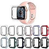 OMEE 12 Piezas Protectora Compatible con Funda Apple Watch 38mm Series 3/2/1 con Protector de Pantalla Cristal Templado, PC Cubierta Protectora Funda HD Protección Completa Carcasa para iWatch 38mm