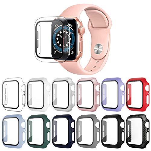 OMEE 12 Piezas Protectora Compatible con Funda Apple Watch 44mm Series 6/SE/5/4 con Protector de Pantalla Cristal Templado, PC Cubierta Protectora Funda HD Protección Completa Carcasa para iWatch 44mm