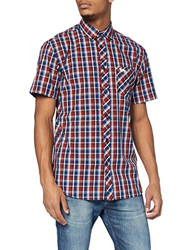 Lonsdale Mens KABER Shirt, Red/Navy/Ecru, XXL