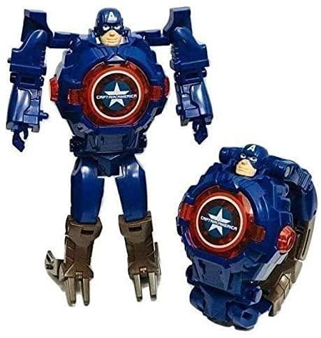 AKANAR Captain America Action Figure Toy Robot Deformation Convertible Digital Wrist Watch for Kids (Dark Blue Color)