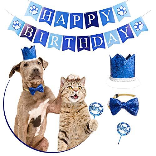 GAGILAND Hunde-Geburtstags-Bandana-Hut-Banner für Hunde, Jungen, Mädchen, niedliche Fliege, Schal, Geburtstagsparty-Zubehör, Dekorationen (marineblaue Krone & Halsband & Kuchenaufsatz & Banner)