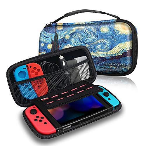 Fintie Torba do Nintendo Switch/Switch model OLED - torba do przechowywania, pokrowiec Case z 10 uchwytami na karty i paskiem do trzymania konsoli Nintendo Switch i akcesoriów, gwiaździsta noc
