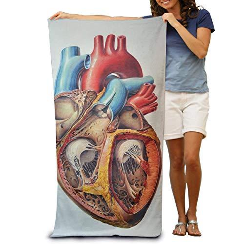 Toallas de Playa de Antiarena de Microfibra para Hombre Mujer, 130x80cm, Toallas Baño Calidad Gigante Secado Rapido para Piscina, Manta Playa, Toalla Yoga Deporte Gimnasio,Corazón de anatomía Humana