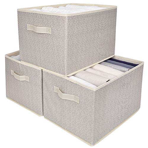 GRANNY SAYS Storage Bin for Shelves Fabric Closet Organizer Shelf Cube Box with Handle Home Office Storage Baskets Beige Extra Large 3-Pack