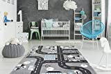One Couture Kinderteppich Straßen Design Straßen Motiv 3D Effekt Blau Weiß Grau Schwarz Wohnzimmerteppich Esszimmerteppich Teppichläufer Flur-Läufer, Größe:80cm x 150cm, Silber, MD2572