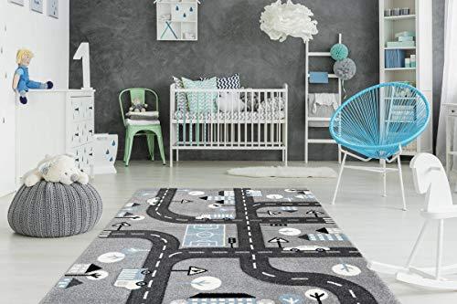 One Couture Kinderteppich Straßen Design Straßen Motiv 3D Effekt Blau Weiß Grau Schwarz Wohnzimmerteppich Esszimmerteppich Teppichläufer Flur-Läufer, Größe:120cm x 170cm