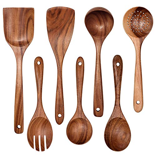 Wooden Non-Stick Kitchen Pan Toolset 7 Pieces Set,100% Natural Teak Kitchen Utensils Spatula, Wooden Cooking Utensils Spoons, Fried Spatula and Salad Fork