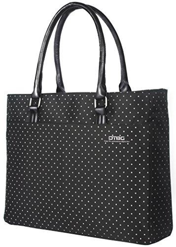DTBG Laptop Tote Bag, 15.6 Inch Women Shoulder Bag Nylon Briefcase Casual Handbag Laptop Case for 15-15.6 Inch Tablet/Ultra-Book/MacBook/Chromebook (Black+White Dot)