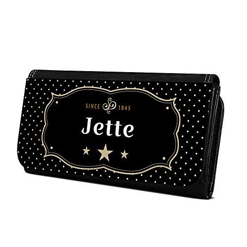 Geldbörse mit Namen Jette - Design Retro Wappen - Brieftasche, Geldbeutel, Portemonnaie, personalisiert für Damen und Herren