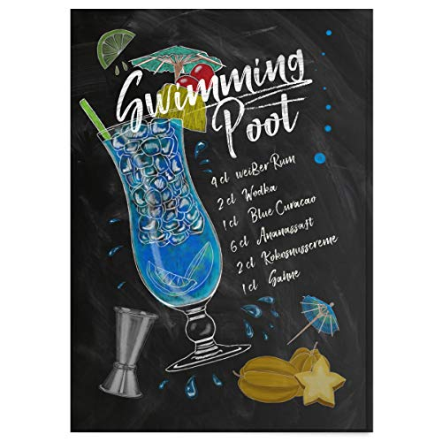 JUNIWORDS Poster mit/ohne Holzrahmen - Wähle ein Motiv - Cocktail Swimming Pool - Wähle eine Größe - 21 x 30 cm (S) ohne Rahmen