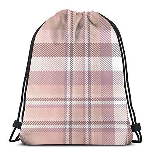 Lsjuee Plaid Check Pattern Pink Pale Red Unisex Gym Sack Bag Drawstring Backpack Bag PE Kit Bag Swimming, RunningBoxing Bag