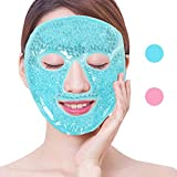 NEWGOFull Gel Mask Cold Pack Reusable Gel Face Mask for Hot Cold Therapy, Swollen Face, Migraines, Inflamed Skin - Blue
