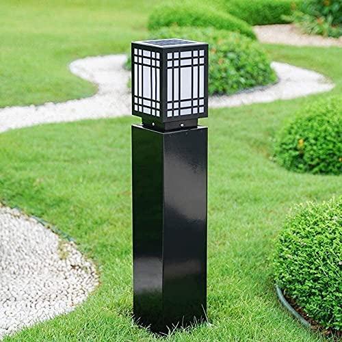 Chinese Simplicity Square r Wodoodporna lampa trawnikowa Solar Aluminium Zewnętrzny ogród Krajobraz Kolumna Światło Ommunity Park Ścieżka Chodnik Słupek Światło słupkowe LED Latarnia (Rozmiar: H 40CM)