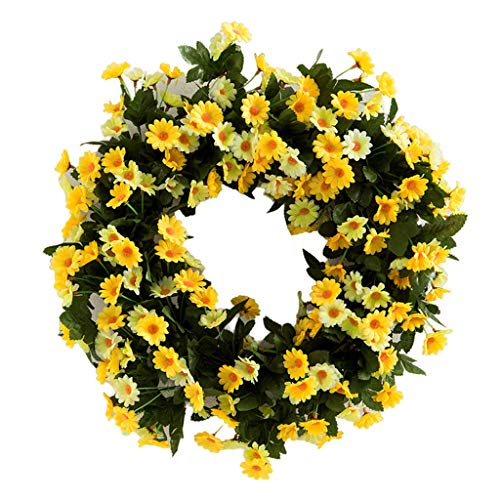 Artificial Yellow Daisy Wreath Spring Summer Faux Floral,17.7 Inch Wreath Front Door Hanging Garland Green Leaves for Indoor Outdoor Home Wedding Window Wall Decoration