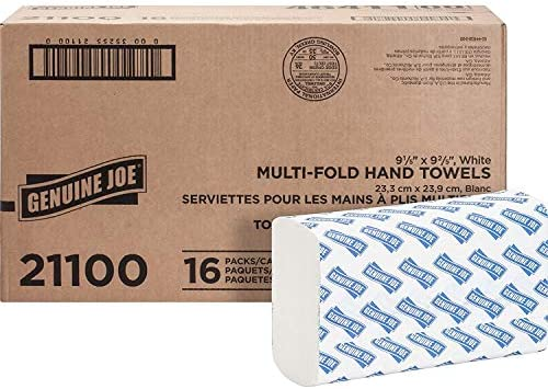 Genuine Joe 21100 Multifold Towels 9 1 2 Inch x9 1 8 Inch 250 Towels PK 16PK CT WE product image