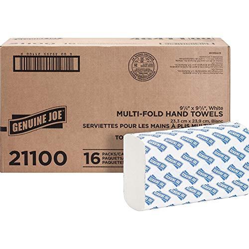 Genuine Joe 21100 Multifold Towels,9-1/2-Inch x9-1/8-Inch ,250 Towels/PK,16PK/CT,WE