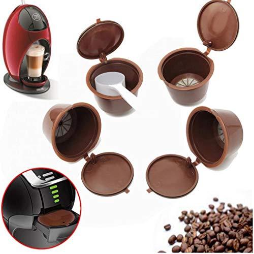 Angoter 4PCS Dolce Gusto Café Cápsula Plsatic Recargable de café de la cápsula Reutilizable 200 Veces Compatible con Dolce Gusto