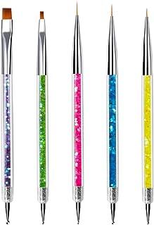 Mobestech 5PCS Nail Art Brushes Dotting Pen Nail Art Liner Brushes Striping Brush Nail Painting Brushes Painting Kit for Dotting Painting Drawing Nail