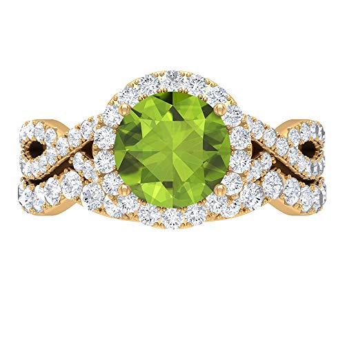 Juego de anillos de novia de peridoto, 3,14 quilates redondos, solitario D-VSSI Moissanite 8 MM, anillo de compromiso catedral, banda de eternidad apilable, 18K Oro amarillo, Size:EU 50