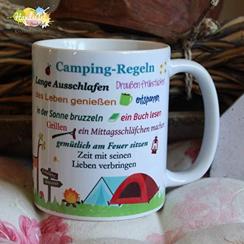 Kaffeebecher ~ Tasse - Camping-Regeln (Wohnwagen)~ Camper - Camping - Wohnwagen - Zelt ~ Weihnachten Geschenk