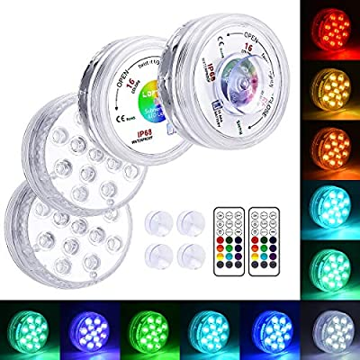 LOFTEK 13 LED Submersible Lights Remote Control with Suction Cups 164ft Remote Range, Extra Bright Color Changing Underwater Lights for Ponds Pool Boat, IP68 Full Waterproof,Battery Operate(4 Packs)