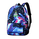 NFRRT Christmas Mustache Tree Galaxy Casual Daypack - Blue Unisex Backpack Shoulder Bag for School Travel