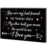 7.87 Inch Best Friends Sign Couple Valentine Wooden Box Sign Appreciation Block Decor, You Are My Best Friend, My Human Diary Other Half I Love You Table Decor for Anniversary Home Admire Compliments
