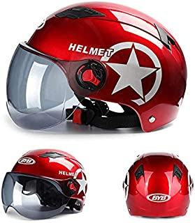 FidgetGear Motorcycle Helmet Motorcycle Helmet Unisex Summer Motorcycle Sun Block Head Protector Red (brown lens)