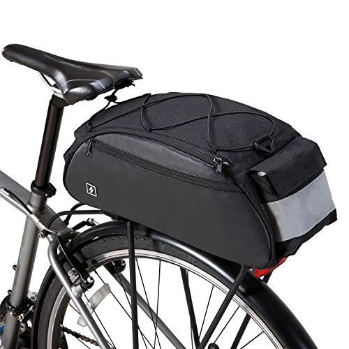 DCCN, bagagedragertas, 10 liter, fietstas met schouderriem en regenhoes, 41 x 18 x 18 cm, zwart