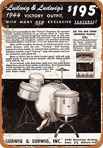 Letrero de metal con aspecto vintage de Ludwig Drums de 20 x...