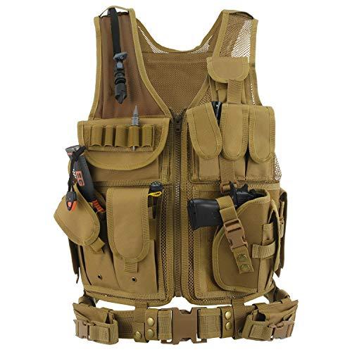 Gonex Gilet Tattico da Assalto Maglia per Caccia Militare Giacca Poliestere Airsoft per CS militare Cosplay Cmapeggio Escursionismo Colore Nero