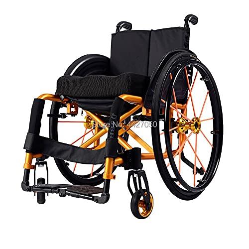 JINKEBIN Electric Silla de Ruedas Moda Plegable Manual/Deporte Silla de Ruedas Silla de Ruedas con discapacidad Silla de Ruedas (Color : Orange)