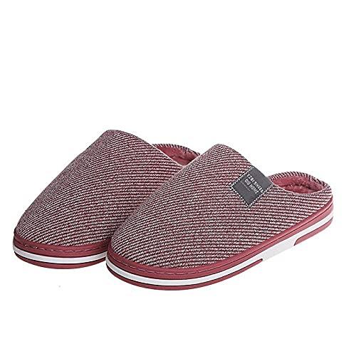 Calzado Adulto Unisex,Zapatos de Deslizamiento de algodón otoño e Invierno Sala de Estar Pantuflas de Pelo cálido de Fondo Grueso-Rosa Red_40-41#,Cómodo