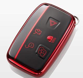 Kelay 5 Tasten Schlüsselanhänger Hülle Soft TPU Vollschutz kompatibel mit Land Rover Discovery Sport Evoque Aurora Jaguar XF XJ XJL XEL XFL F pace