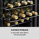 Klarstein Shiraz Uno - Weinkühlschrank, Temperaturen: 5-18 °C, 42 dB, Soft-Touch-Bedienfeld, 6 Regaleinschübe, Platz für 28 Flaschen Wein, Volumen: 74 Liter, schwarz - 9