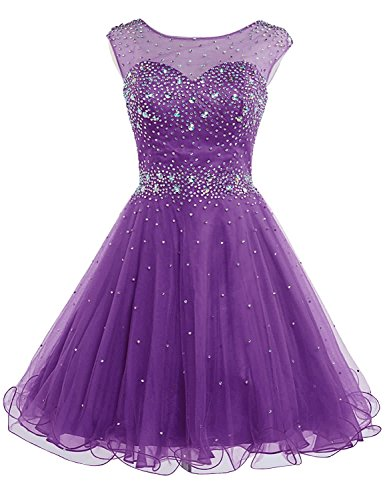 Sarahbridal Juniors Tulle Homecoming Dresses Sheer Neck Short Sequin Prom Party Ball Gowns Purple US12
