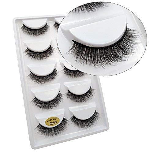 5 Paires 3D Naturel Faux Cils Réutilisable Moelleux Bande D'Oeil Cils Longue Extension -Faux Cils Pour Maquillage Quotidien, Soirée, Mariage, Fête-G803