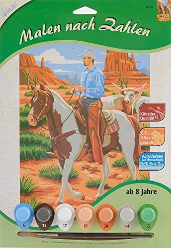MAMMUT 105074 - malowanie według liczb motyw zwierzęcy, kowbojy, kompletny zestaw z drukowanym szablonem do malowania w formacie A4, 7 farb akrylowych i pędzli, zestaw do malowania dla dzieci od 8 lat