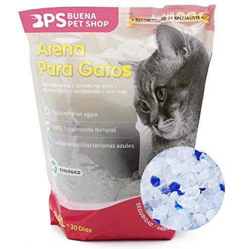 BPS 30.4 L Arena de Sílice para Gatos Arena Blanco Fresco Mascotas Cat Litter 4 Tamaños 3.8L/7.6L/15.2L/30.4L para Elegir (30.4 L) BPS-3200 * 8